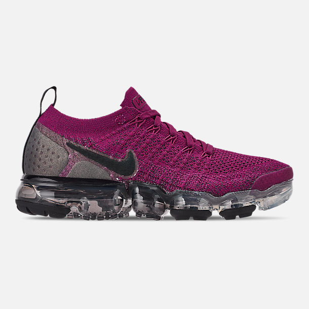 Right view of Women's Nike Air VaporMax Flyknit 2 Running Shoes in Raspberry Red/Black/True Berry