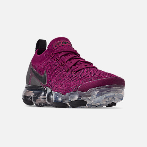 Three Quarter view of Women's Nike Air VaporMax Flyknit 2 Running Shoes in Raspberry Red/Black/True Berry