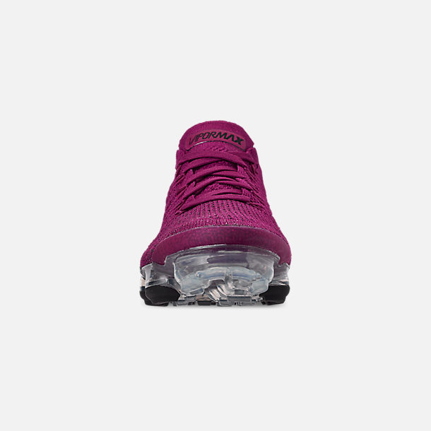 Front view of Women's Nike Air VaporMax Flyknit 2 Running Shoes in Raspberry Red/Black/True Berry