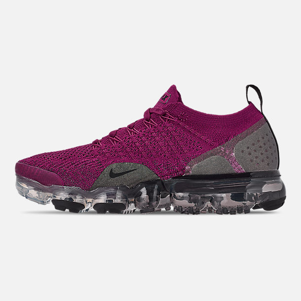 Left view of Women's Nike Air VaporMax Flyknit 2 Running Shoes in Raspberry Red/Black/True Berry