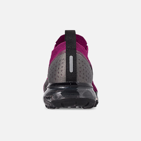 Back view of Women's Nike Air VaporMax Flyknit 2 Running Shoes in Raspberry Red/Black/True Berry