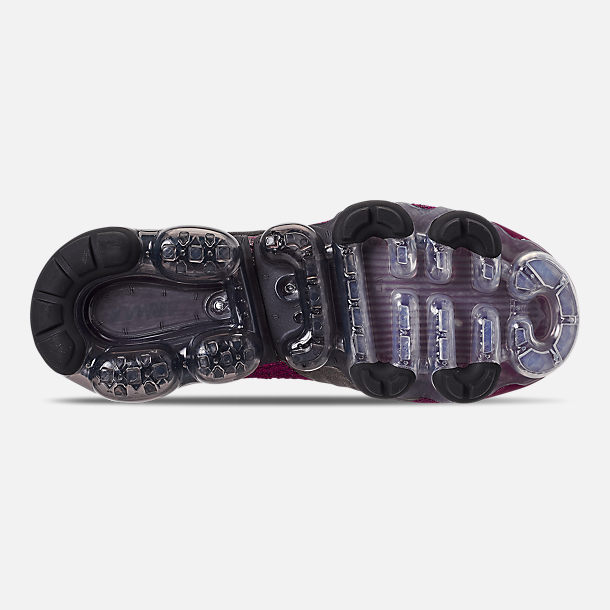 Bottom view of Women's Nike Air VaporMax Flyknit 2 Running Shoes in Raspberry Red/Black/True Berry