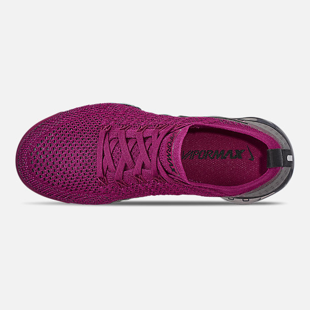 Top view of Women's Nike Air VaporMax Flyknit 2 Running Shoes in Raspberry Red/Black/True Berry
