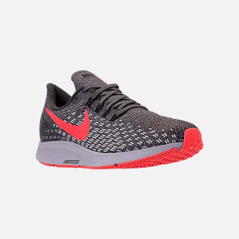 Three Quarter view of Men's Nike Air Zoom Pegasus 35 Running Shoes in Thunder Grey/Bright Crimson/Phantom