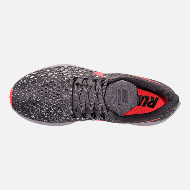 Top view of Men's Nike Air Zoom Pegasus 35 Running Shoes in Thunder Grey/Bright Crimson/Phantom