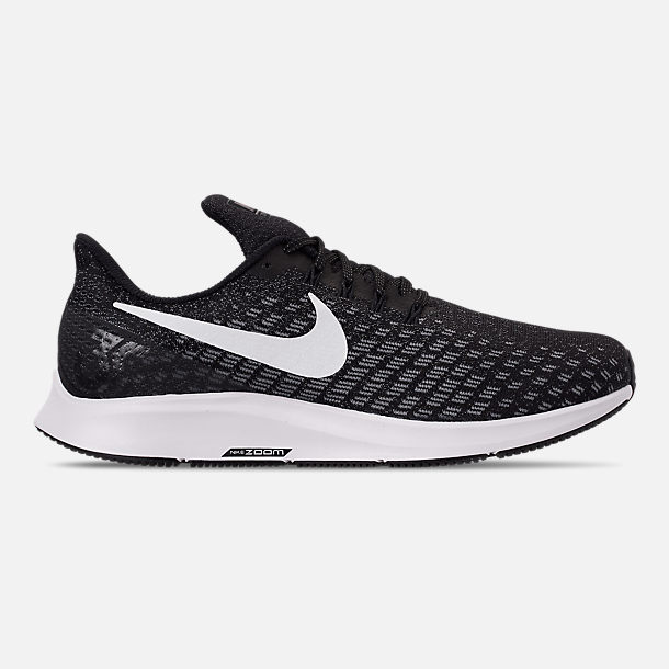 Right view of Women's Nike Air Zoom Pegasus 35 Running Shoes in Black/White/Gunsmoke/Oil Grey