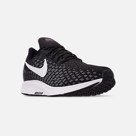 Three Quarter view of Women's Nike Air Zoom Pegasus 35 Running Shoes in Black/White/Gunsmoke/Oil Grey