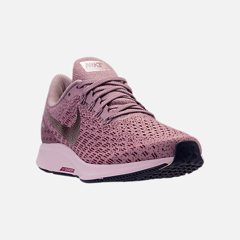 Three Quarter view of Women's Nike Air Zoom Pegasus 35 Running Shoes in Elemental Rose/Barely Rose/Vintage