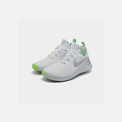 Three Quarter view of Women's Nike Free TR 8 Training Shoes in White/Metallic Silver/Pure Platinum