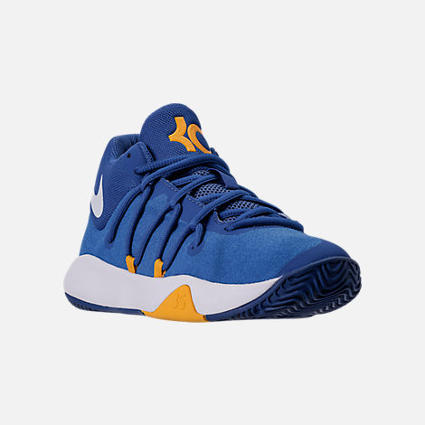 Three Quarter view of Boys' Grade School Nike KD Trey 5 V Basketball Shoes in Royal Blue/White/University Gold