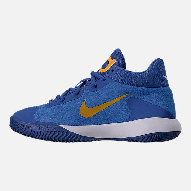 Left view of Boys' Grade School Nike KD Trey 5 V Basketball Shoes in Royal Blue/White/University Gold