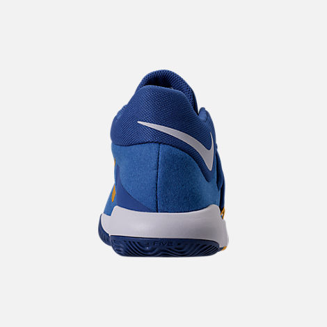 Back view of Boys' Grade School Nike KD Trey 5 V Basketball Shoes in Royal Blue/White/University Gold