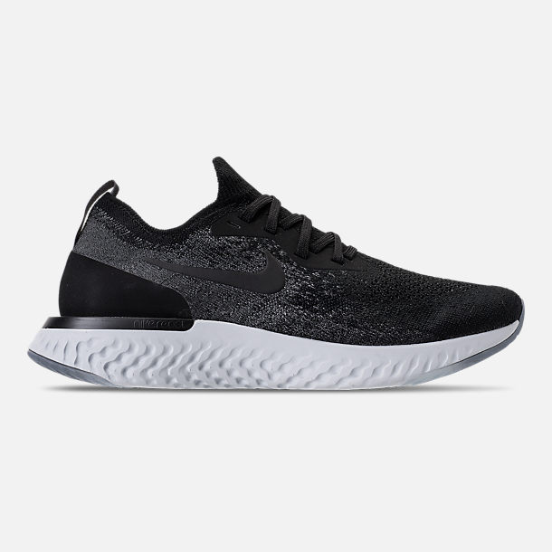 Right view of Kids' Grade School Nike Epic React Flyknit Running Shoes in Black/Dark Grey/Pure Platinum