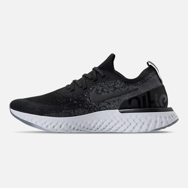 Left view of Kids' Grade School Nike Epic React Flyknit Running Shoes in Black/Dark Grey/Pure Platinum