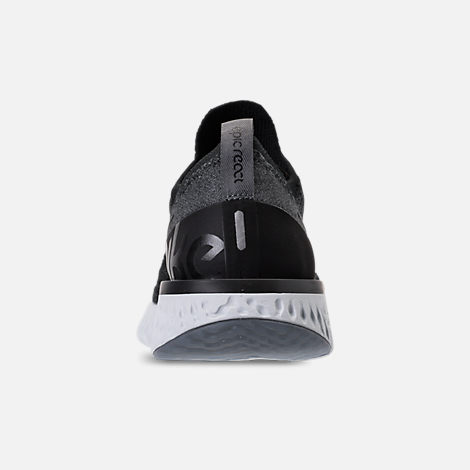 Back view of Kids' Grade School Nike Epic React Flyknit Running Shoes in Black/Dark Grey/Pure Platinum