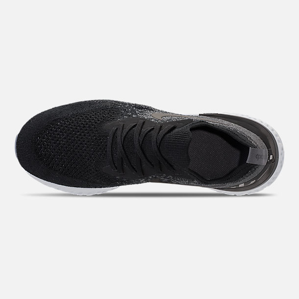 Top view of Kids' Grade School Nike Epic React Flyknit Running Shoes in Black/Dark Grey/Pure Platinum
