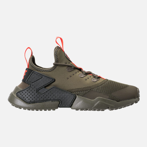 Right view of Boys' Grade School Nike Huarache Drift Casual Shoes in Medium Olive/Total Crimson/Sequoia