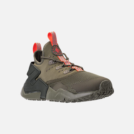 Three Quarter view of Boys' Grade School Nike Huarache Drift Casual Shoes in Medium Olive/Total Crimson/Sequoia