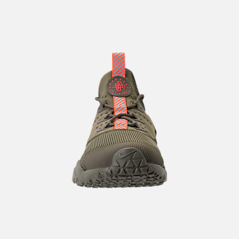 Front view of Boys' Grade School Nike Huarache Drift Casual Shoes in Medium Olive/Total Crimson/Sequoia