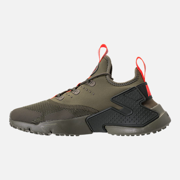 Left view of Boys' Grade School Nike Huarache Drift Casual Shoes in Medium Olive/Total Crimson/Sequoia