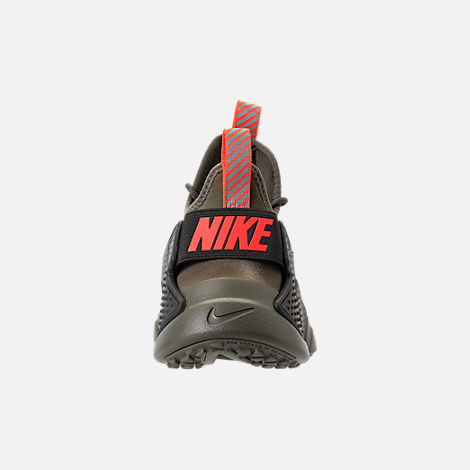 Back view of Boys' Grade School Nike Huarache Drift Casual Shoes in Medium Olive/Total Crimson/Sequoia