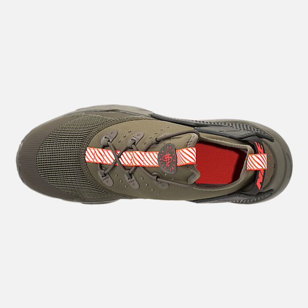 Top view of Boys' Grade School Nike Huarache Drift Casual Shoes in Medium Olive/Total Crimson/Sequoia