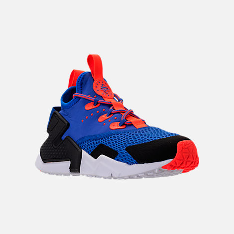 Three Quarter view of Boys' Big Kids' Nike Huarache Drift Casual Shoes in Racer Blue/Black/Total Crimson