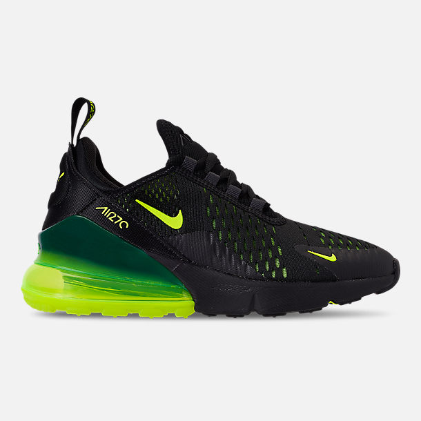 Right view of Big Kids' Nike Air Max 270 Casual Shoes in Black/Volt/Black/Oil Grey