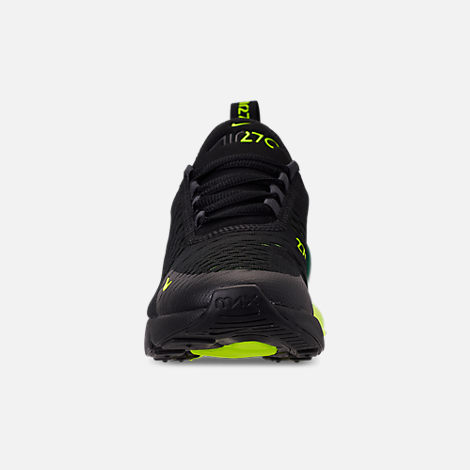 Front view of Big Kids' Nike Air Max 270 Casual Shoes in Black/Volt/Black/Oil Grey