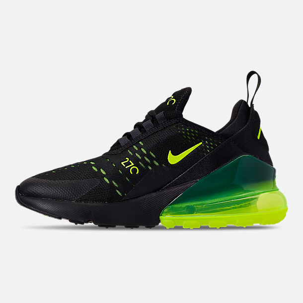 Left view of Big Kids' Nike Air Max 270 Casual Shoes in Black/Volt/Black/Oil Grey
