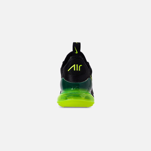 Back view of Big Kids' Nike Air Max 270 Casual Shoes in Black/Volt/Black/Oil Grey