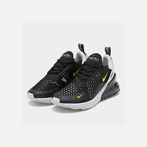Three Quarter view of Big Kids' Nike Air Max 270 Casual Shoes in Black/Amarillo/Pure Platinum/Anthracite