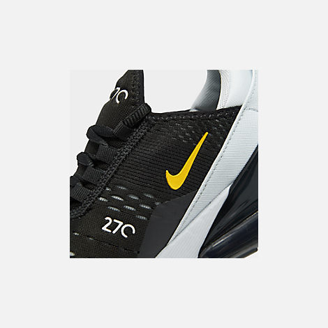 Front view of Big Kids' Nike Air Max 270 Casual Shoes in Black/Amarillo/Pure Platinum/Anthracite