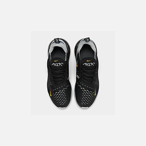 Back view of Big Kids' Nike Air Max 270 Casual Shoes in Black/Amarillo/Pure Platinum/Anthracite