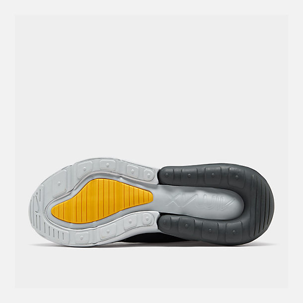 Bottom view of Big Kids' Nike Air Max 270 Casual Shoes in Black/Amarillo/Pure Platinum/Anthracite