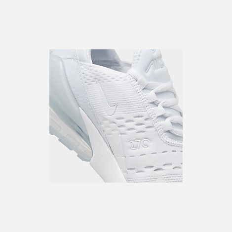Front view of Big Kids' Nike Air Max 270 Casual Shoes in White/White/Metallic Silver