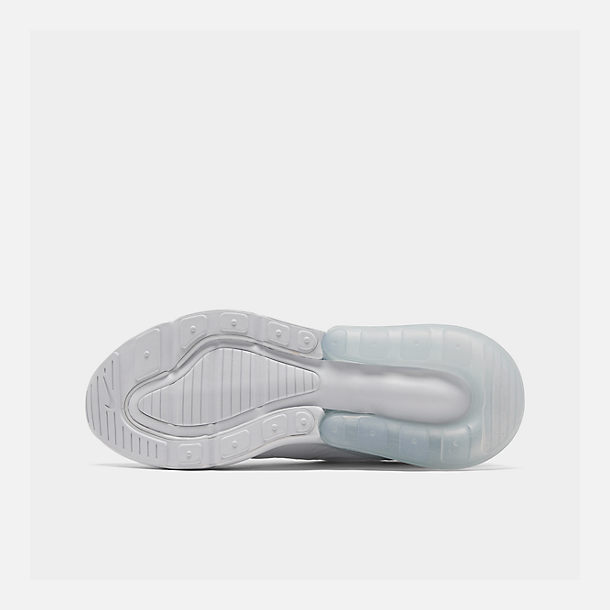 Bottom view of Big Kids' Nike Air Max 270 Casual Shoes in White/White/Metallic Silver
