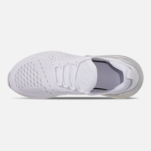 Top view of Big Kids' Nike Air Max 270 Casual Shoes in White/White/Metallic Silver
