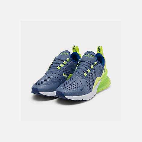 Three Quarter view of Big Kids' Nike Air Max 270 Casual Shoes in Indigo Storm/Indigo Force/Lime Blast