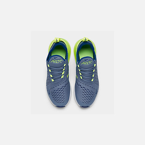 Back view of Big Kids' Nike Air Max 270 Casual Shoes in Indigo Storm/Indigo Force/Lime Blast