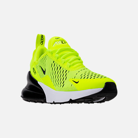 Three Quarter view of Kids' Grade School Nike Air Max 270 Casual Shoes in Volt