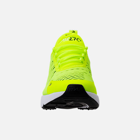 Front view of Kids' Grade School Nike Air Max 270 Casual Shoes in Volt/Black/Dark Grey/White