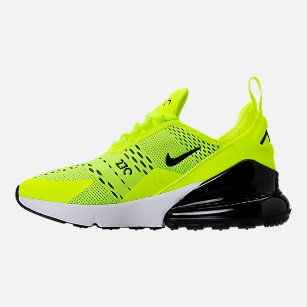 Left view of Kids' Grade School Nike Air Max 270 Casual Shoes in Volt/Black/Dark Grey/White