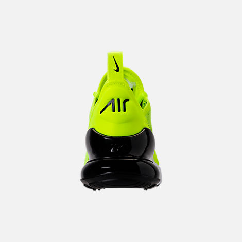 Back view of Kids' Grade School Nike Air Max 270 Casual Shoes in Volt/Black/Dark Grey/White