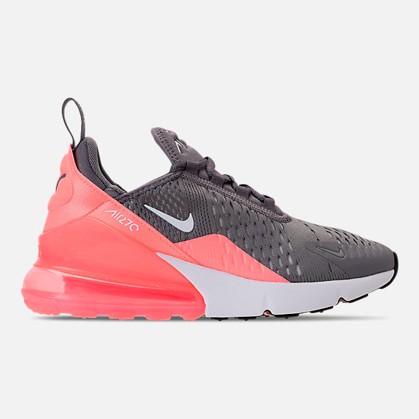 Right view of Kids' Grade School Nike Air Max 270 Casual Shoes in Gunsmoke/Atomic Pink