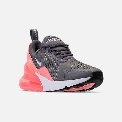 Three Quarter view of Kids' Grade School Nike Air Max 270 Casual Shoes in Gunsmoke/Atomic Pink