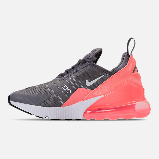 Left view of Kids' Grade School Nike Air Max 270 Casual Shoes in Gunsmoke/Atomic Pink