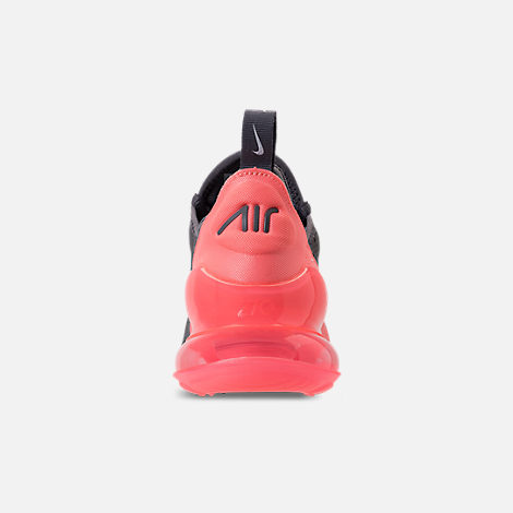 Back view of Kids' Grade School Nike Air Max 270 Casual Shoes in Gunsmoke/Atomic Pink