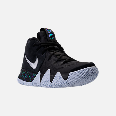 Three Quarter view of Men's Nike Kyrie 4 Basketball Shoes in Black/White/Anthracite
