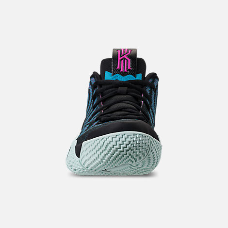 Front view of Men's Nike Kyrie 4 Basketball Shoes in Black/Laser Fuchsia